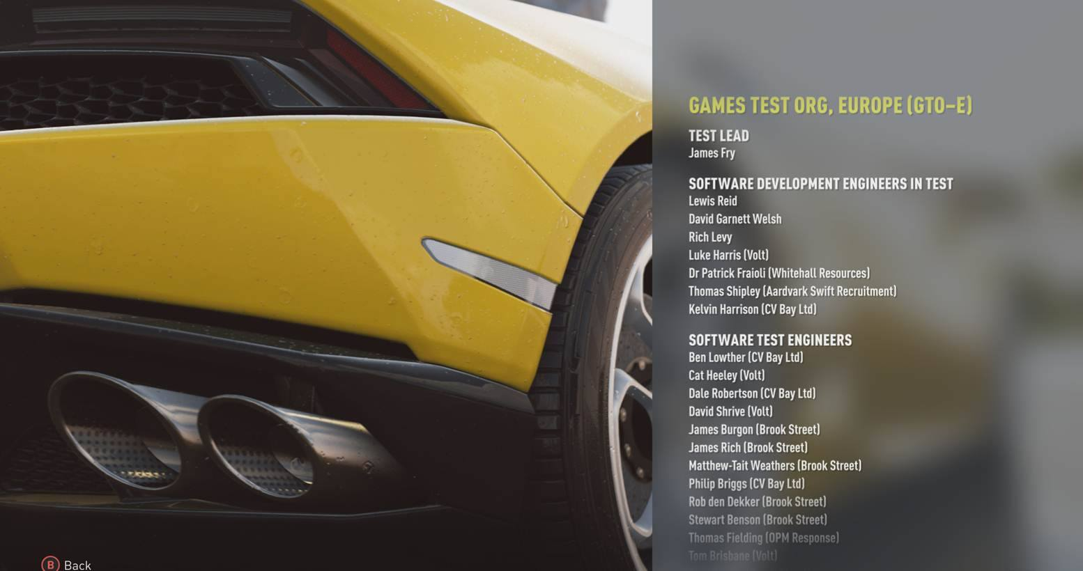 Credits from Forza Horizon 2