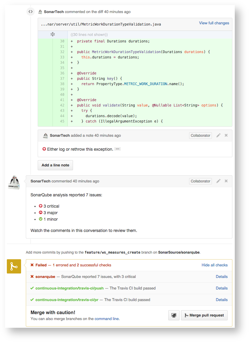SonarQube and GitHub integration example.